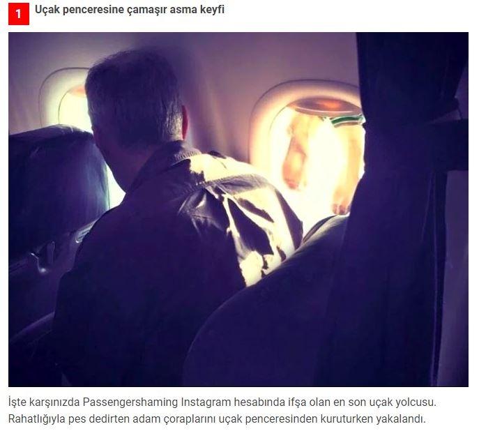 Uçakta mide bulandıran görüntü! Islak çoraplarını pencereye astı galerisi resim 1
