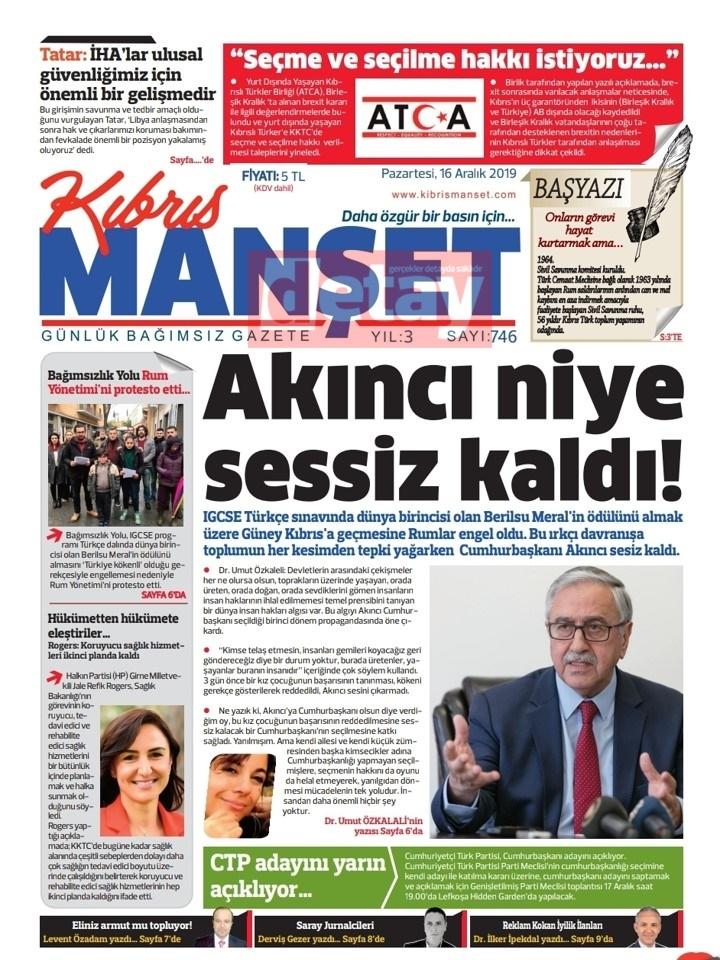 KKTC gazeteleri bugün ne yazdı (16 Aralık 2019) galerisi resim 6