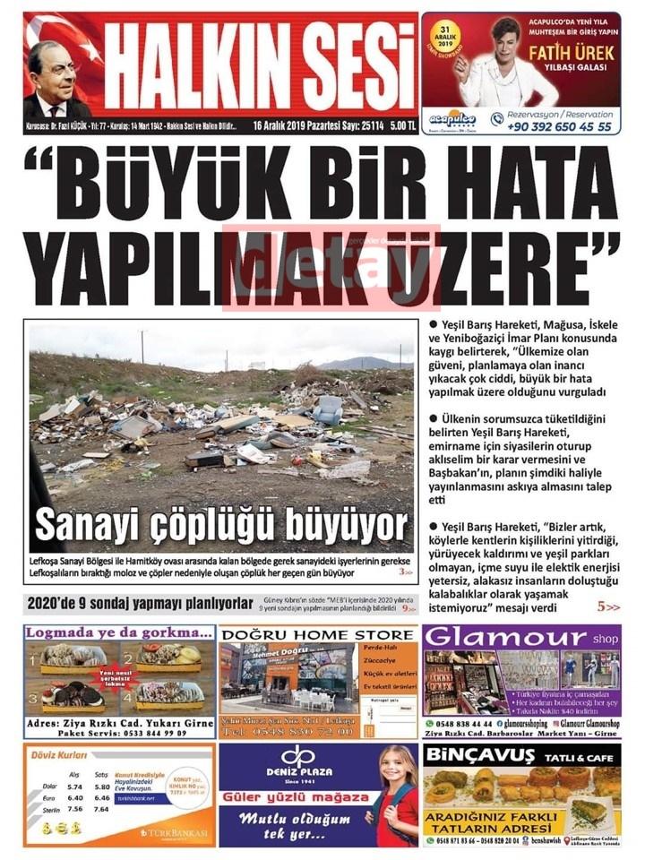 KKTC gazeteleri bugün ne yazdı (16 Aralık 2019) galerisi resim 7