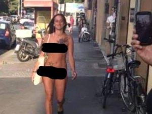 'Giyinmek istemiyorum' diyen kadın sokak ortasında çırılçıplak