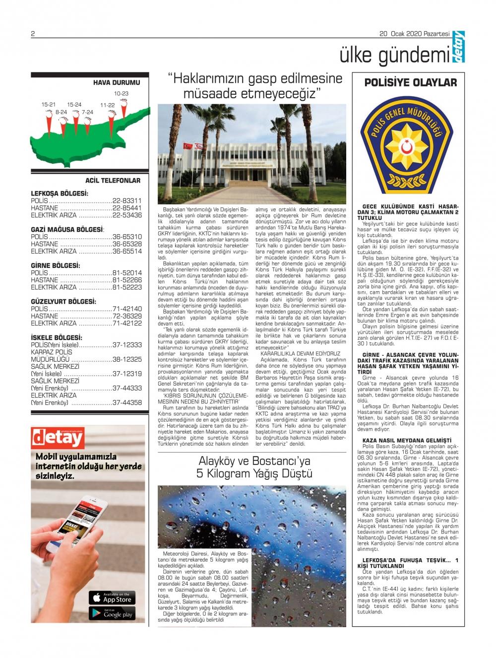 Detay Gazetes 20 Ocak 2020'de ne yazdı? galerisi resim 1
