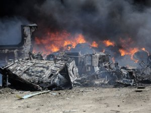 Haspolat'taki yangından görüntüler