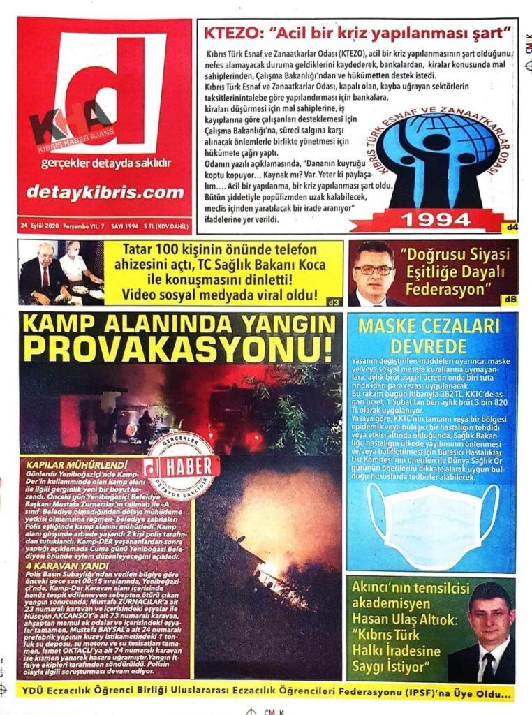 KKTC'de Gazeteler bugün ne yazdı? 24 Eylül 2020 Perşembe galerisi resim 1