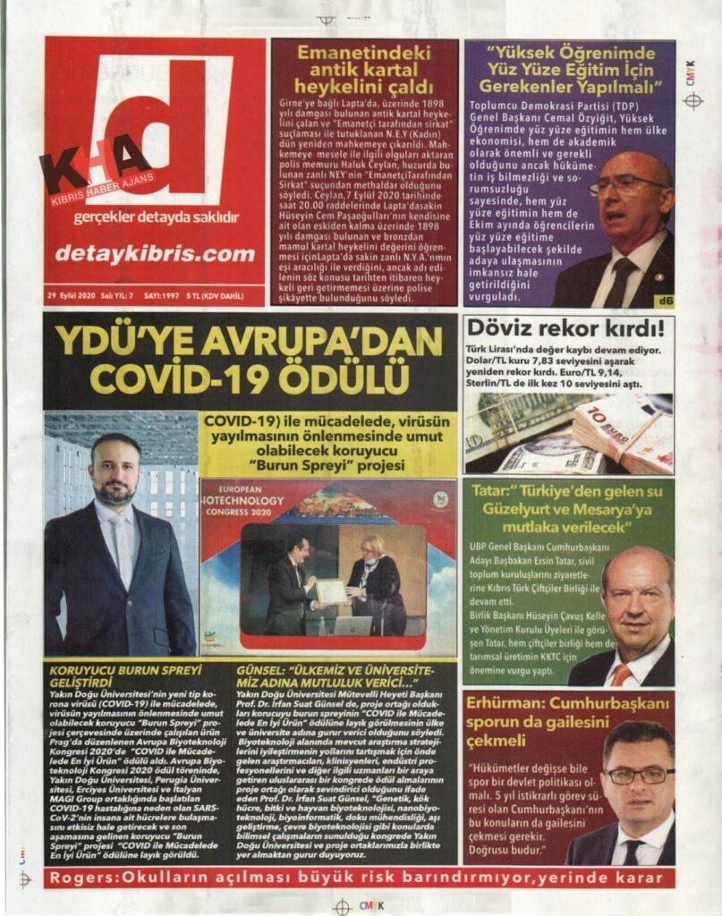 KKTC'de gazeteler bugün ne yazdı? 29 Eylül 2020 Salı galerisi resim 1