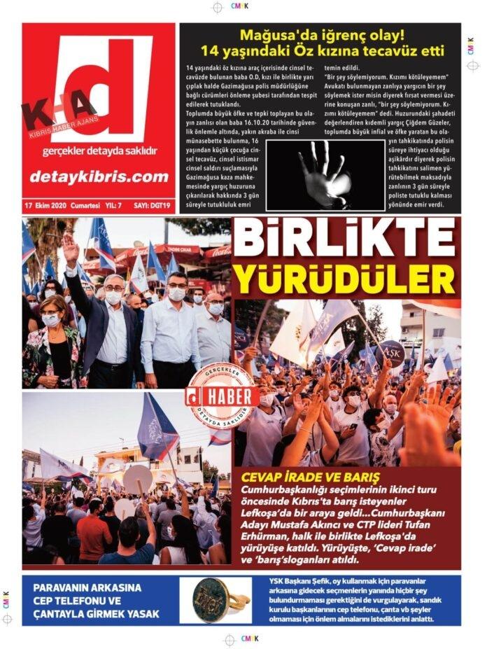 KKTC'de Gazeteler Bugün Ne Yazdı? 17 Ekim 2020 Cumartesi galerisi resim 1