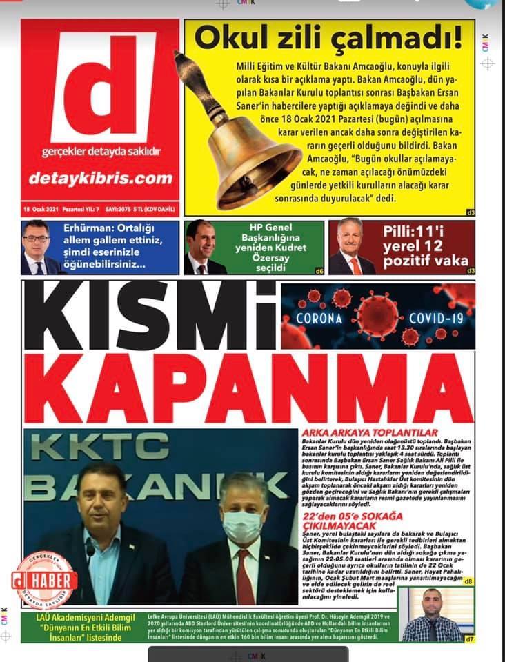 KKTC'de Gazeteler Bugün Ne Manşet Attı? (18 Ocak 2021) galerisi resim 1