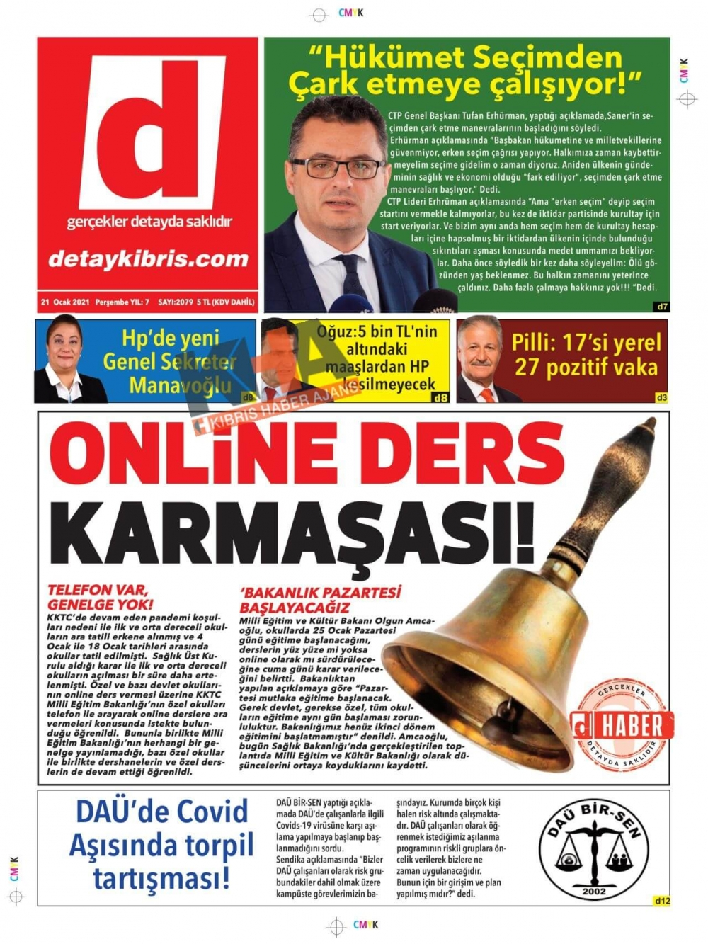 KKTC'de Gazeteler Bugün Ne Manşet Attı? (21 Ocak 2021) galerisi resim 1