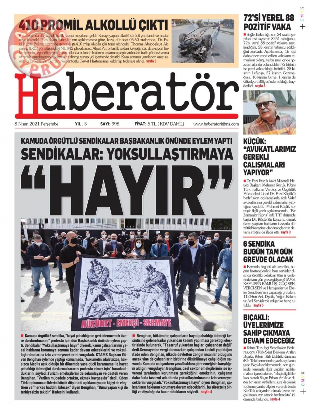 KKTC'de Gazeteler Bugün Ne Manşet Attı? (8 Nisan 2021) galerisi resim 10