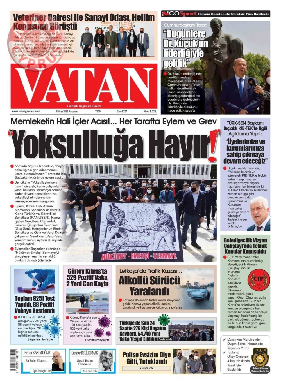 KKTC'de Gazeteler Bugün Ne Manşet Attı? (8 Nisan 2021) galerisi resim 6