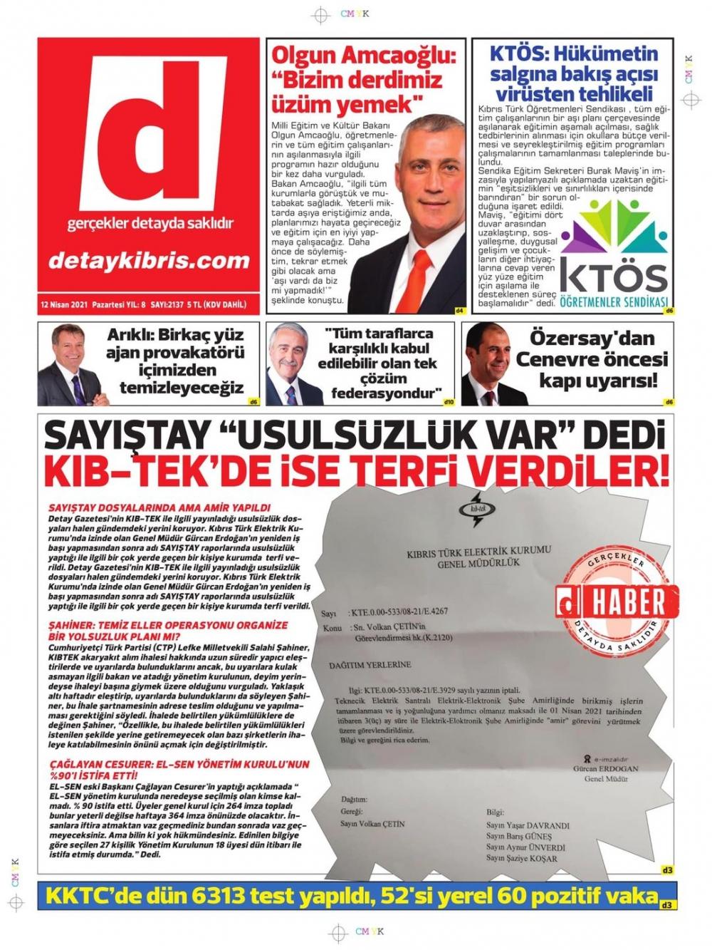 KKTC'de Gazeteler Bugün Ne Manşet Attı? (12 Nisan 2021) galerisi resim 1