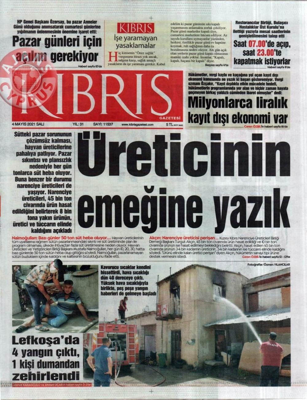 KKTC'de Gazeteler Bugün Ne Manşet Attı? (4 Mayıs 2021) galerisi resim 2