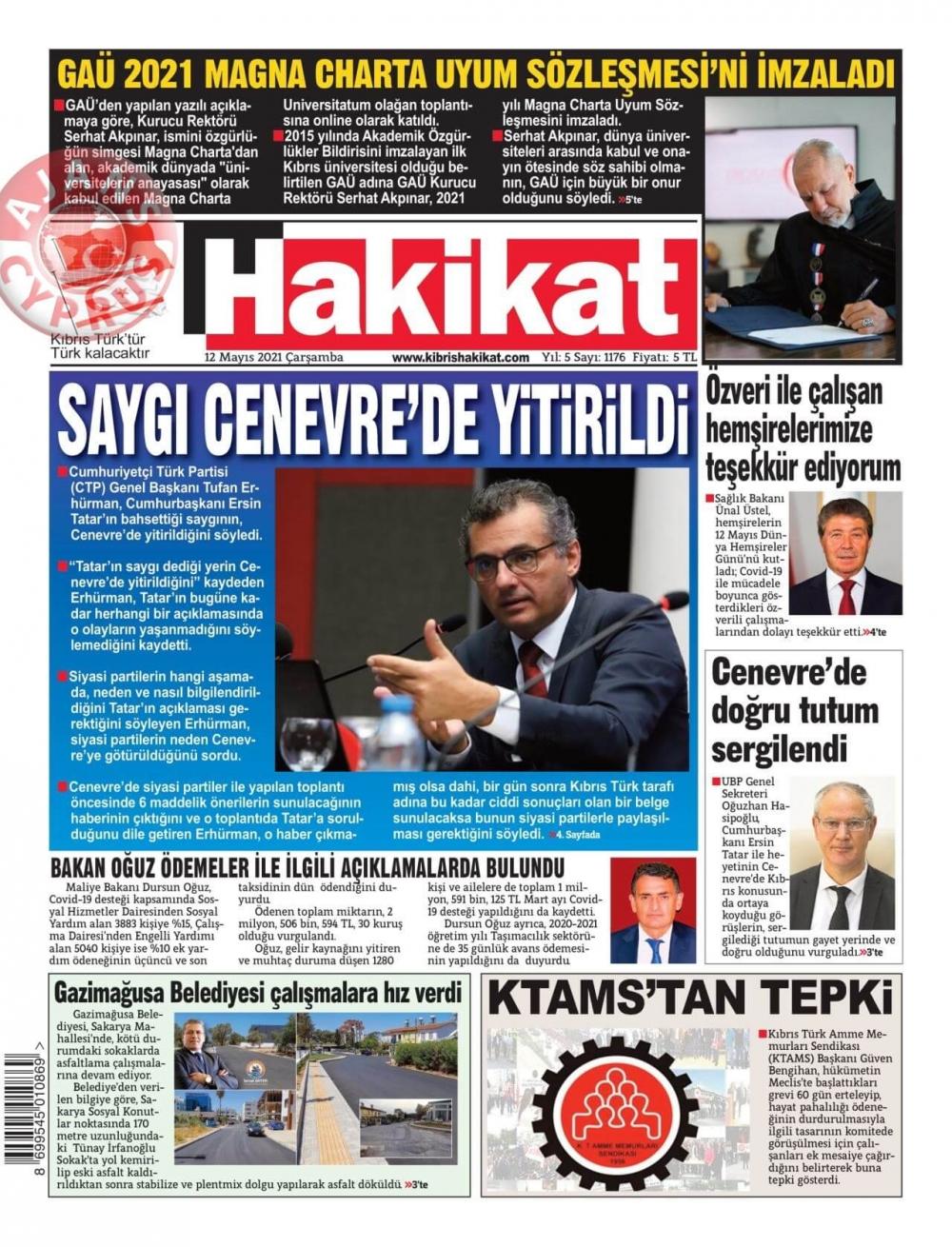KKTC'de Gazeteler Bugün Ne Manşet Attı? (12 Mayıs 2021) galerisi resim 4