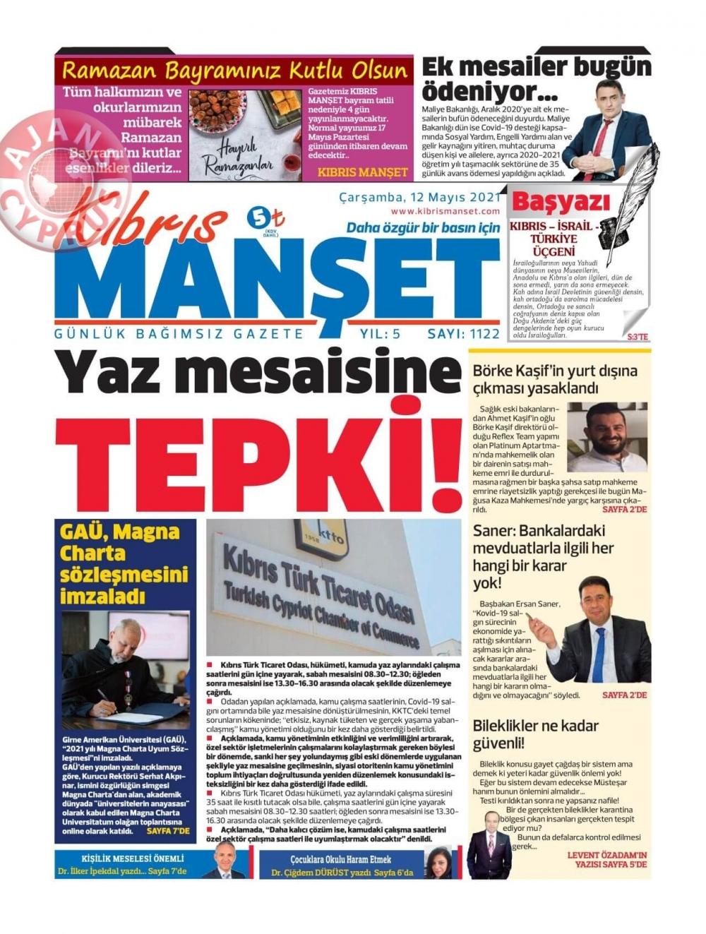 KKTC'de Gazeteler Bugün Ne Manşet Attı? (12 Mayıs 2021) galerisi resim 8
