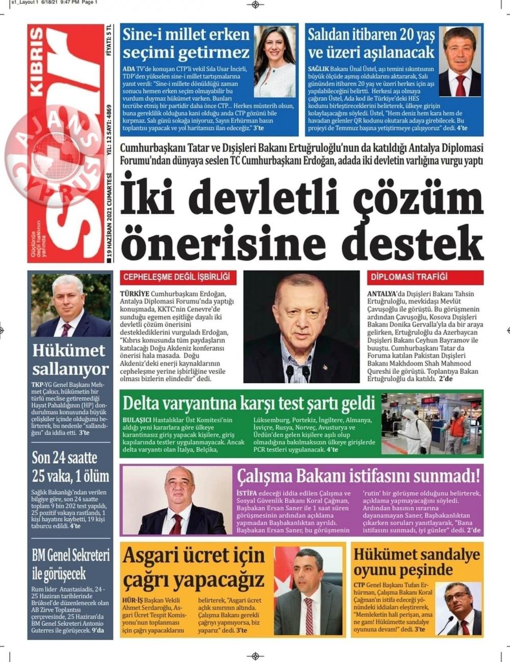 KKTC'de Gazeteler Bugün Ne Manşet Attı? (19 Haziran 2021) galerisi resim 6