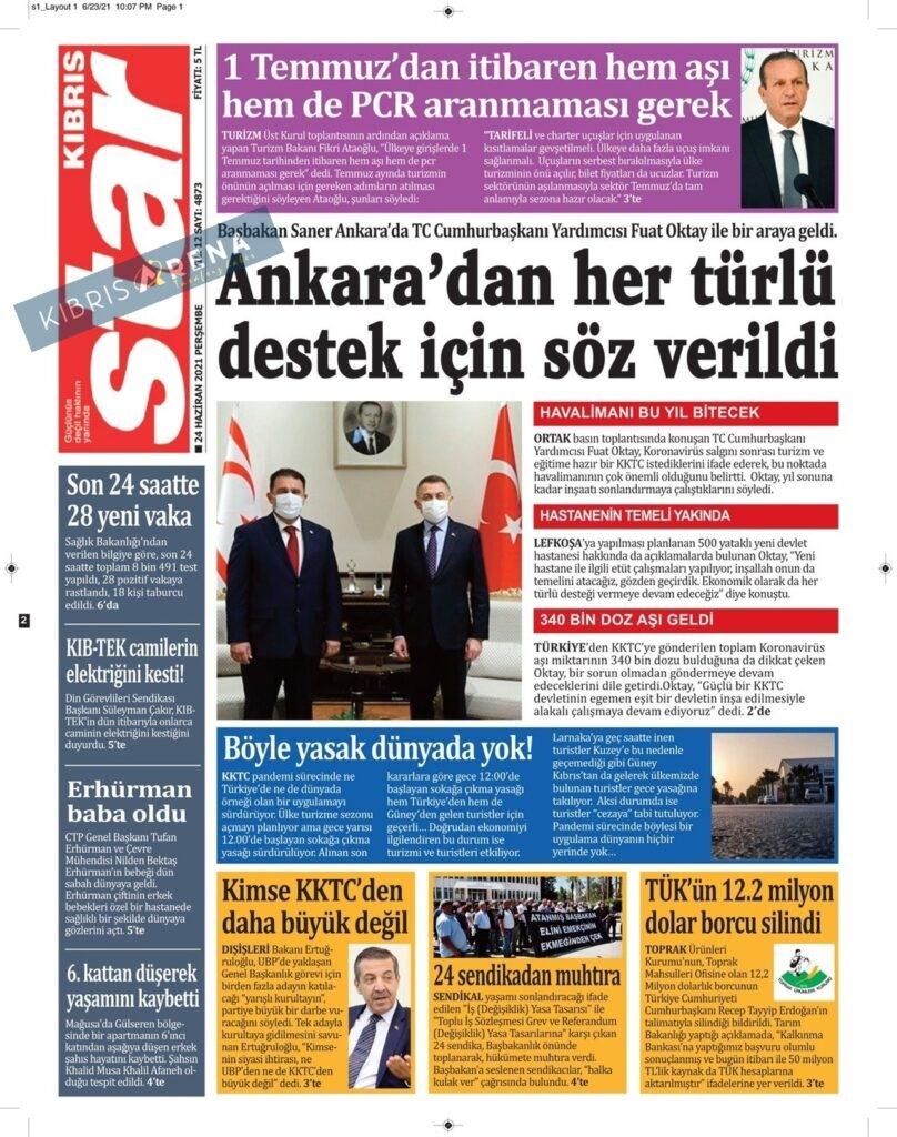 KKTC'de Gazeteler Bugün Ne Manşet Attı? (24 Haziran 2021) galerisi resim 6
