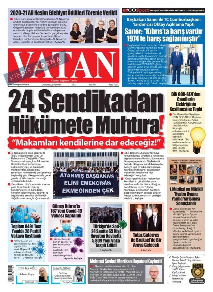 KKTC'de Gazeteler Bugün Ne Manşet Attı? (24 Haziran 2021) galerisi resim 7