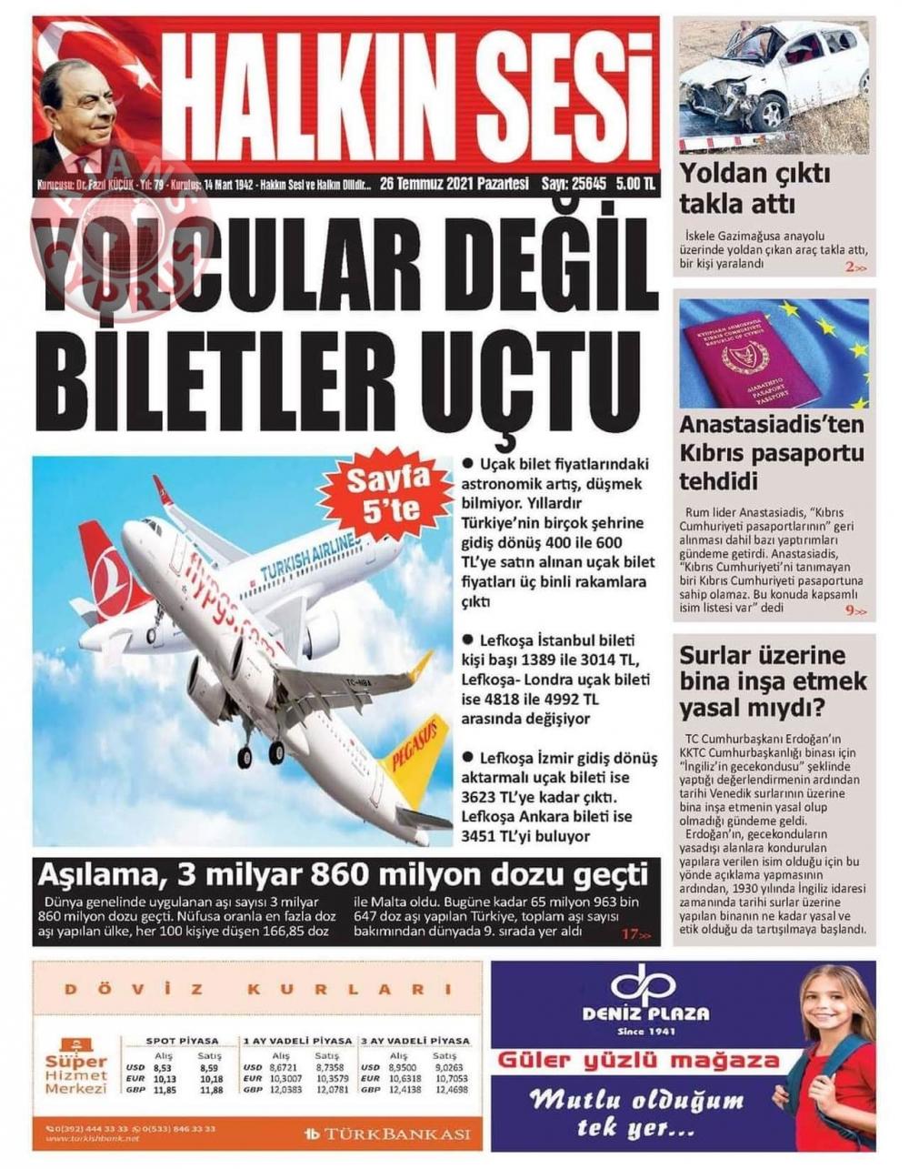 KKTC'de Gazeteler Bugün Ne Manşet Attı? (26 Temmuz 2021) galerisi resim 10