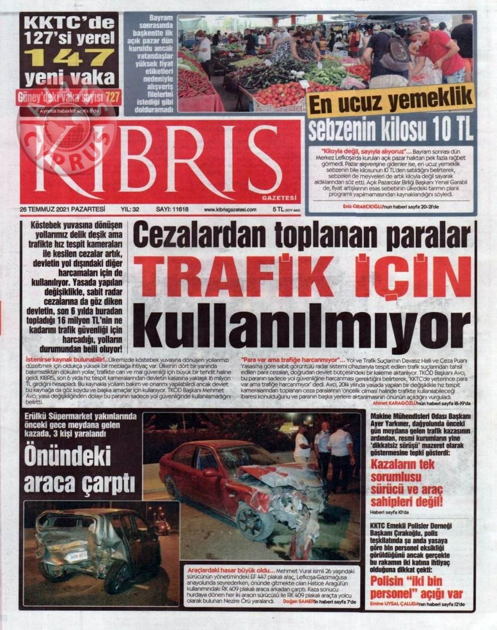 KKTC'de Gazeteler Bugün Ne Manşet Attı? (26 Temmuz 2021) galerisi resim 2