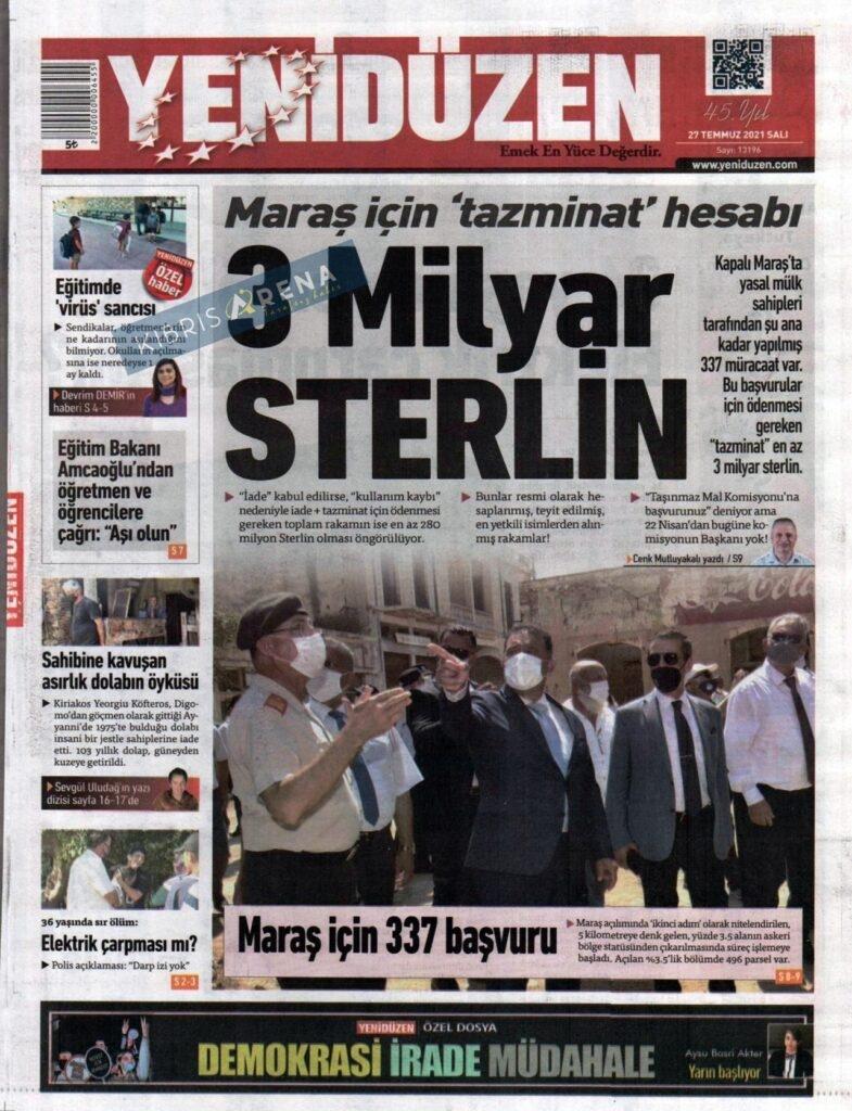 KKTC'de Gazeteler Bugün Ne Manşet Attı? (27 Temmuz 2021) galerisi resim 1
