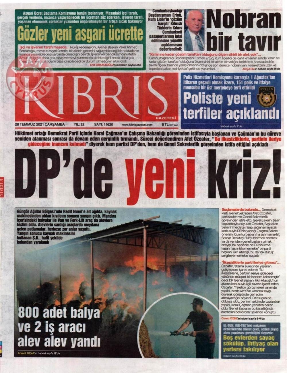 KKTC'de Gazeteler Bugün Ne Manşet Attı? (28 Temmuz 2021) galerisi resim 1