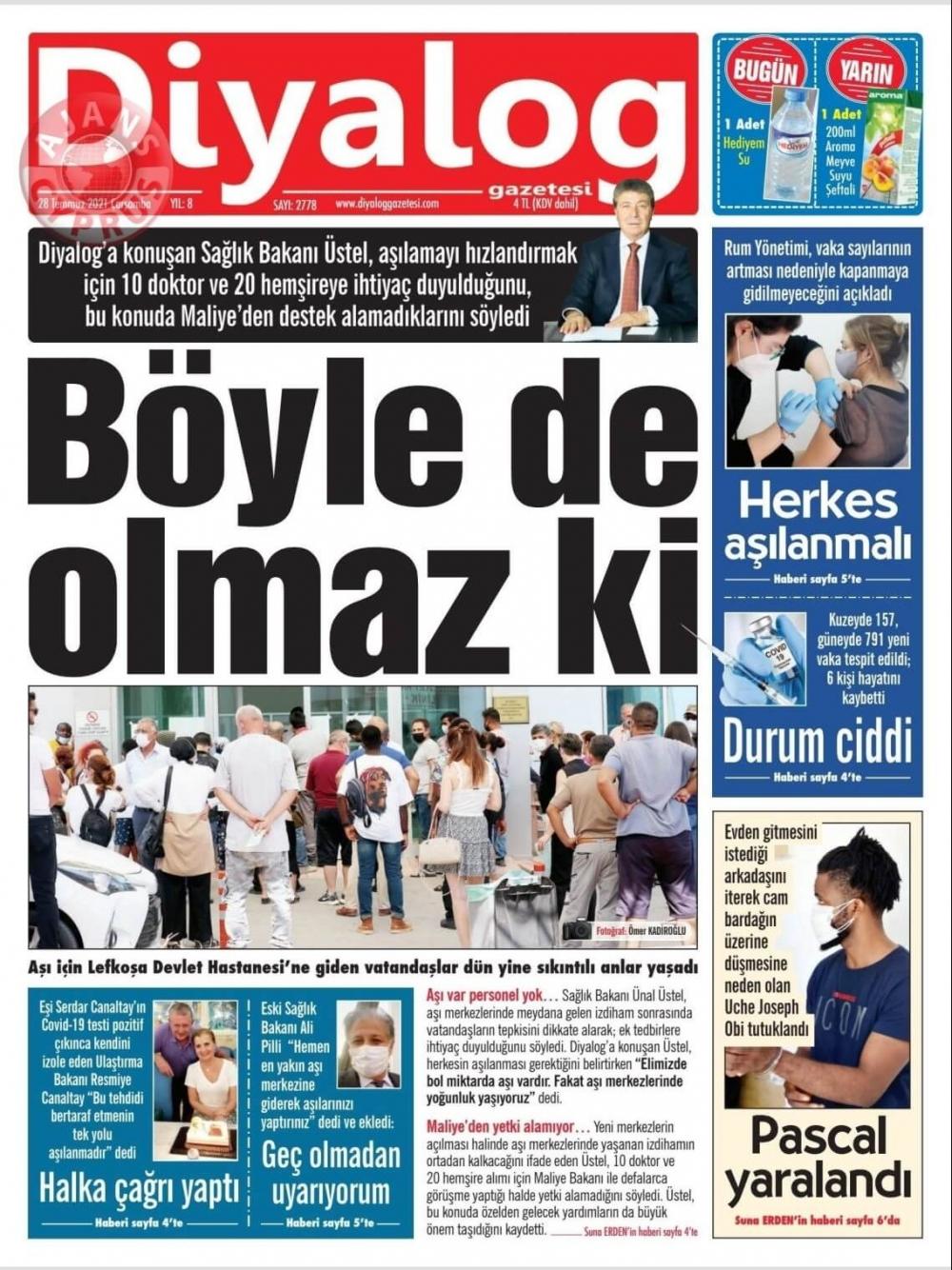 KKTC'de Gazeteler Bugün Ne Manşet Attı? (28 Temmuz 2021) galerisi resim 4