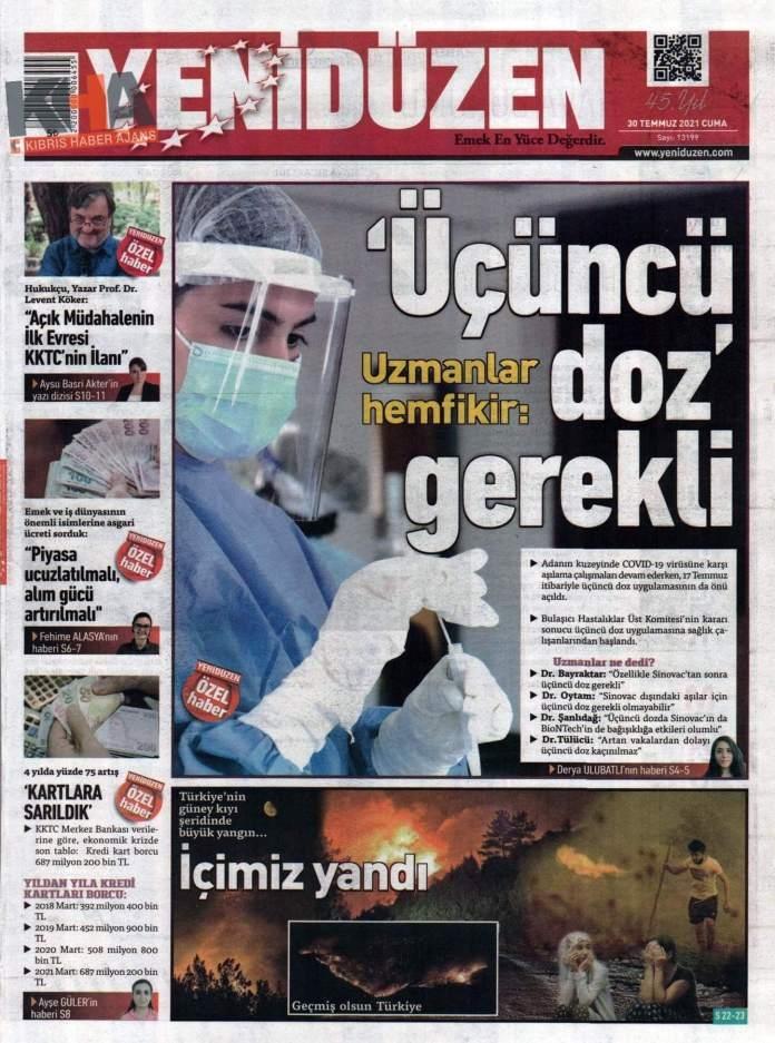 KKTC'de Gazeteler Bugün Ne Manşet Attı? (30 Temmuz 2021) galerisi resim 9