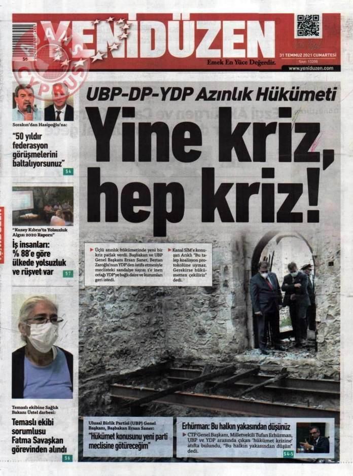 KKTC'de Gazeteler Bugün Ne Manşet Attı? (31 Temmuz 2021) galerisi resim 1