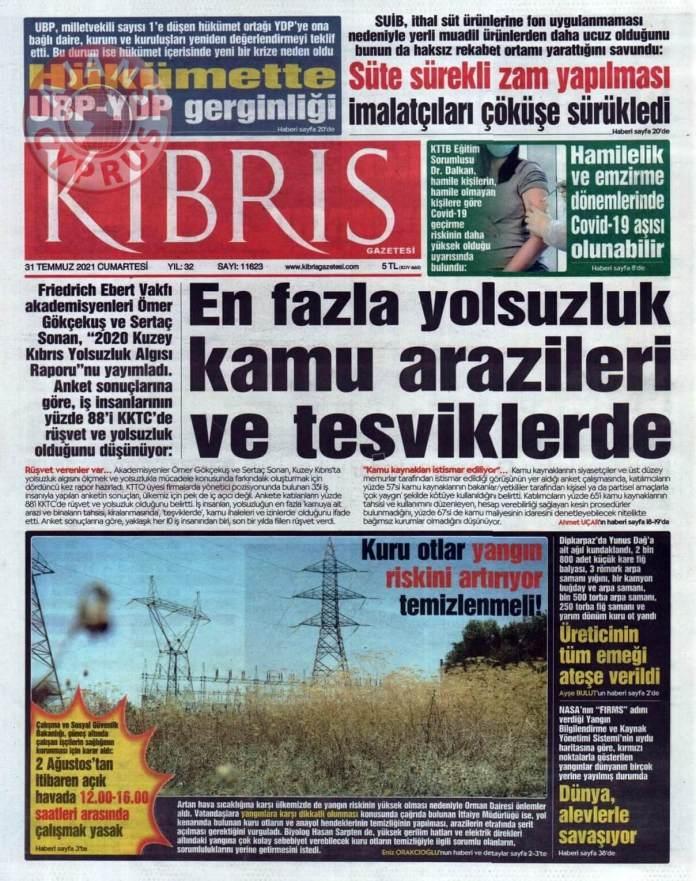 KKTC'de Gazeteler Bugün Ne Manşet Attı? (31 Temmuz 2021) galerisi resim 4