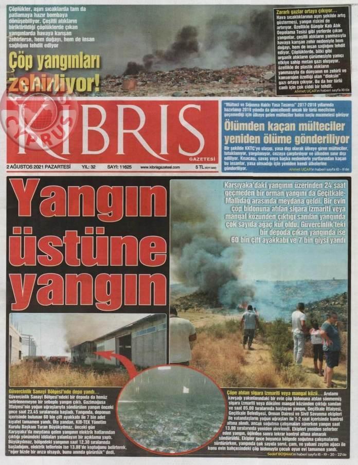KKTC'de Gazeteler Bugün Ne Manşet Attı? (2 Ağustos 2021) galerisi resim 2