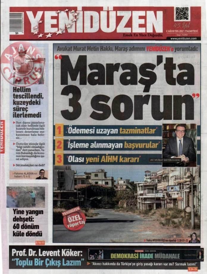 KKTC'de Gazeteler Bugün Ne Manşet Attı? (2 Ağustos 2021) galerisi resim 3
