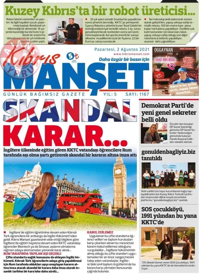 KKTC'de Gazeteler Bugün Ne Manşet Attı? (2 Ağustos 2021) galerisi resim 5