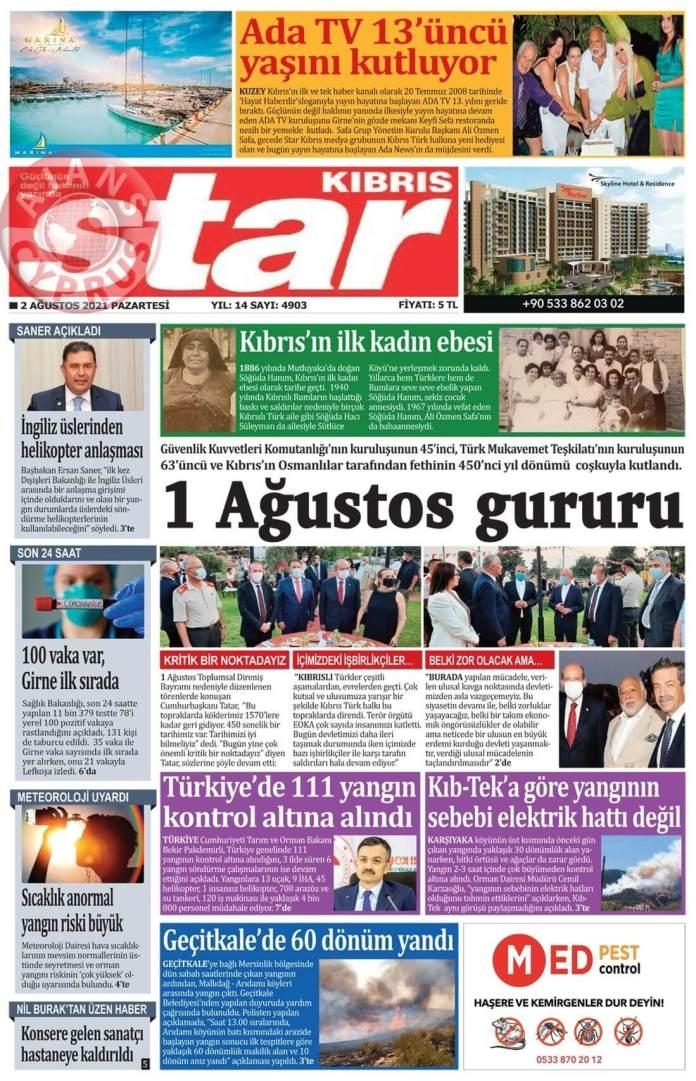 KKTC'de Gazeteler Bugün Ne Manşet Attı? (2 Ağustos 2021) galerisi resim 7