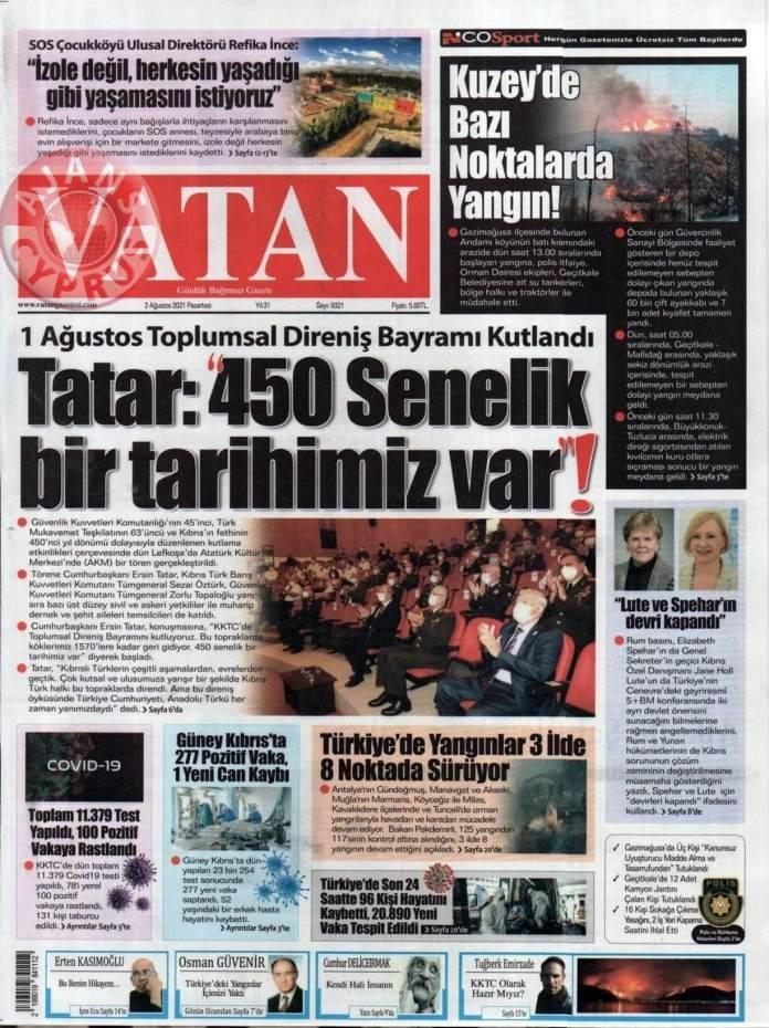 KKTC'de Gazeteler Bugün Ne Manşet Attı? (2 Ağustos 2021) galerisi resim 8