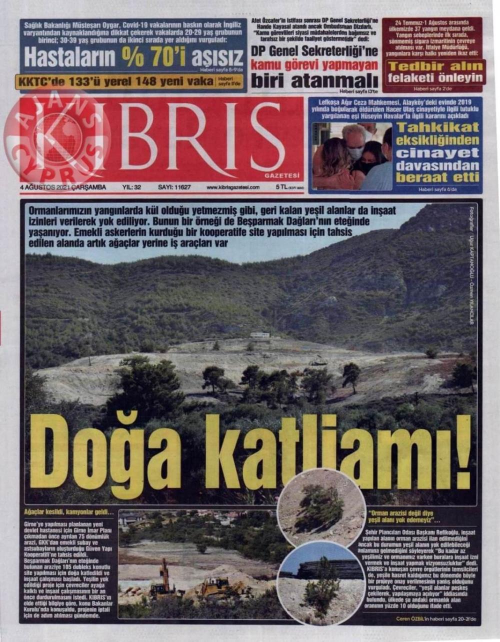 KKTC'de Gazeteler Bugün Ne Manşet Attı? (4 Ağustos 2021) galerisi resim 1