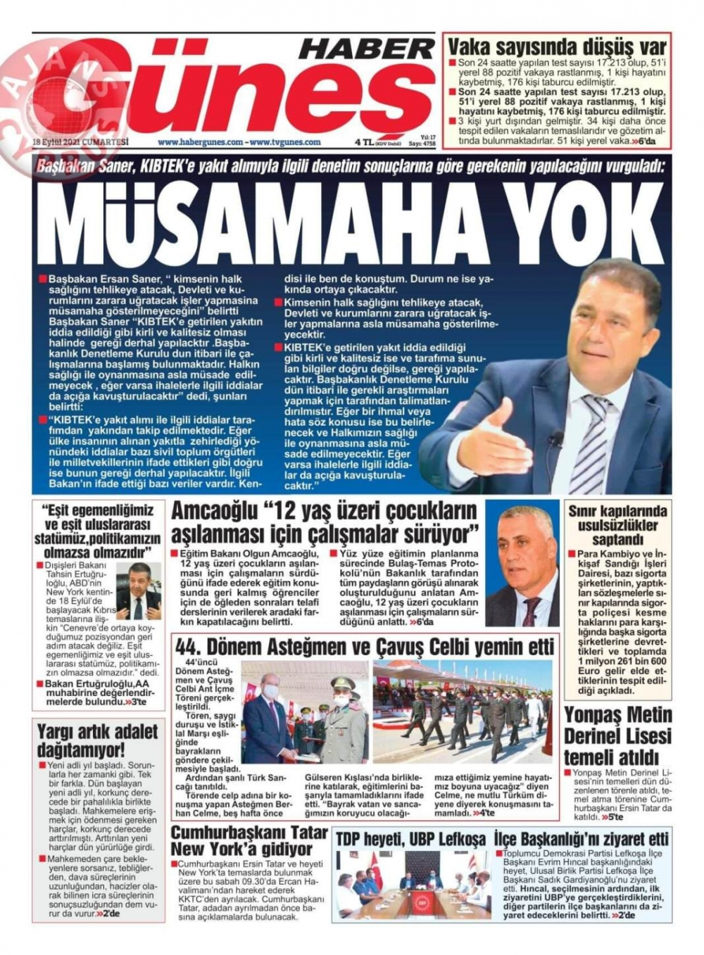 KKTC'de Gazeteler Bugün Ne Manşet Attı? (18 Eylül 2021) galerisi resim 1