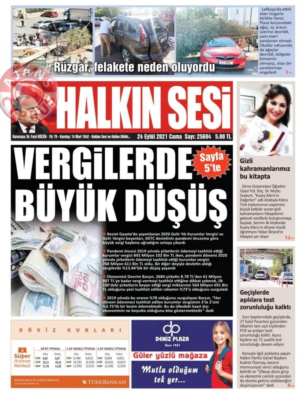 KKTC'de Gazeteler Bugün Ne Manşet Attı? (24 Eylül 2021) galerisi resim 1