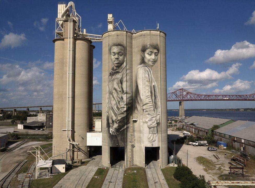 Siloları, binaları tuval yapan sanatçı galerisi resim 4