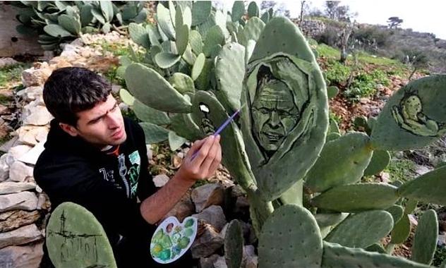 """Filistin'in yaşadığı acıları """"kaktüslere resmeden"""" Gazzeli galerisi resim 3"""