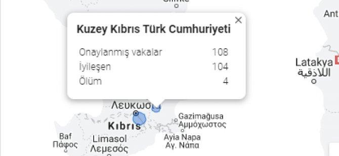 Google KKTC'yi tanıdı!  Covid-19 verilerine KKTC'yi dahil etti!