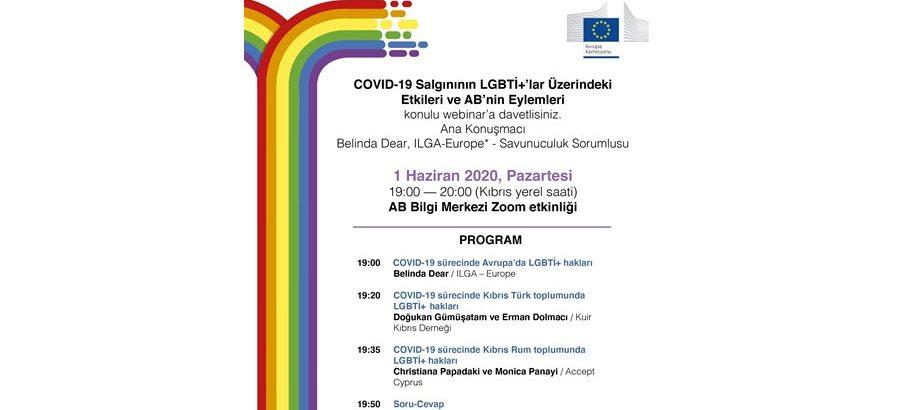 """""""Covid-19 salginin LGBTI+LAR üzerindeki etkileri ve AB'nin eylemleri"""" konulu Webinar düzenleniyor"""