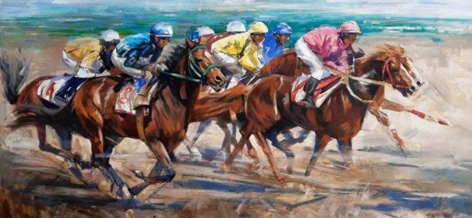 """""""At Yarışı,Amerikan Futbolu ve Kahramanların Savaşı"""" adını verdiği üç eserinituvaline resmetti"""