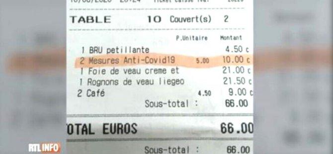 Belçika'daki restoran, müşteri başına 5 euro koronavirüs bedeli alıyor
