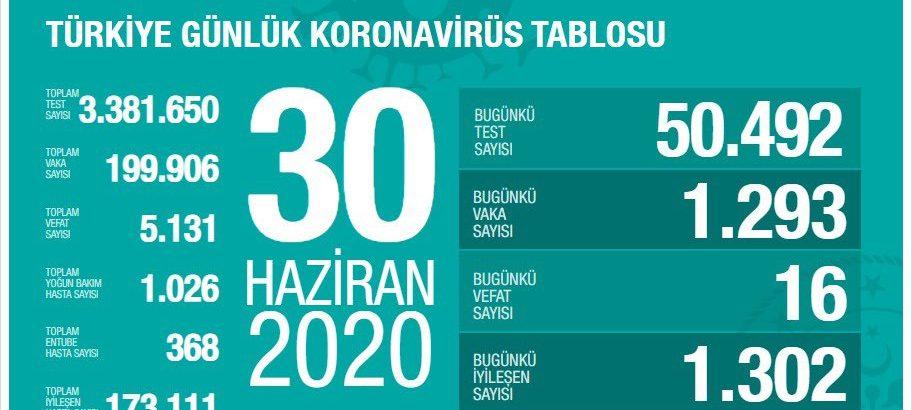 Türkiye'de 1293 yeni vaka
