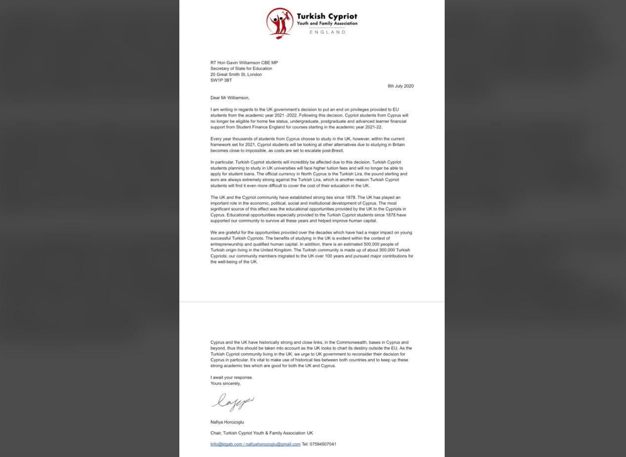 İngiltere Eğitim Bakanı'na Kıbrıslı Türklerden mektup!