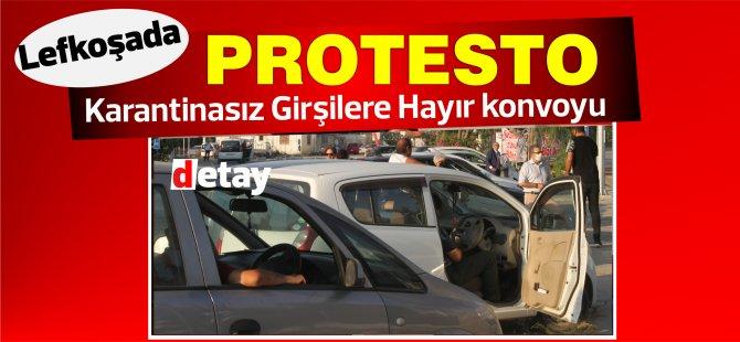 Karantinasız giriş protestosu! Lefkoşa'da araçlı eylem