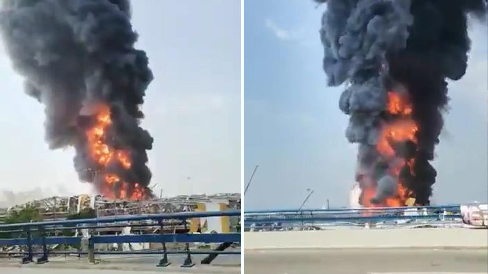 Geçen ay dev patlamaların meydana geldiği Beyrut Limanı'nda büyük yangın