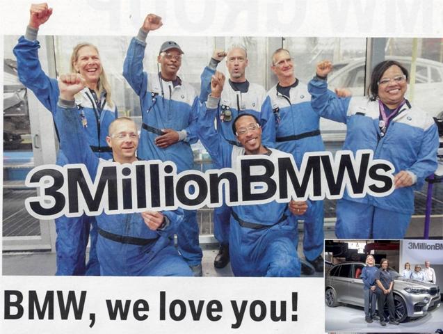 BMW Amerikadaki 3 milyonuncu aracını üretti