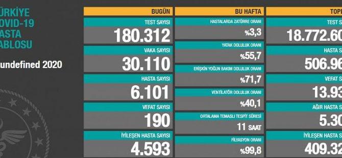 Türkiye'de 190 can kaybı, 30 bin 110 yeni vaka