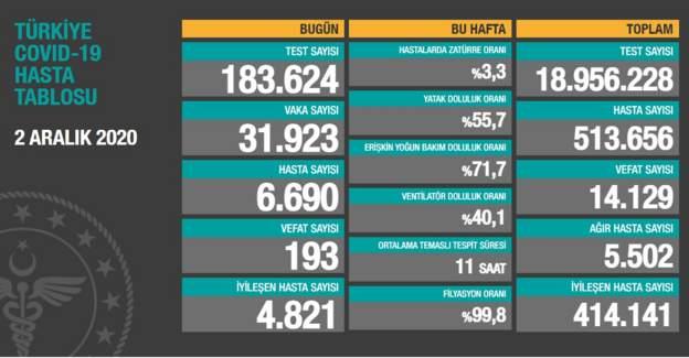 Türkiye'de yeni koronavirüs vaka sayısı 31 bin 923, günlük can kaybı da 193 oldu