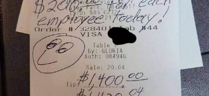 Covid desteği: 20 dolar hesap ödedi, 1400 dolar bahşiş bıraktı